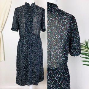 Vtg 60s Dodtex Floral Short Sleeve A Line Dress